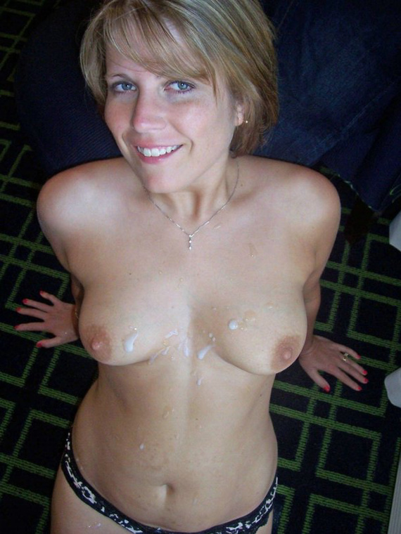 Cute Mature Wife with Sperm on Her Tits