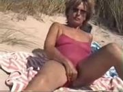 Mature Wife Nudist Reveals Hairy Pussy at the Beach