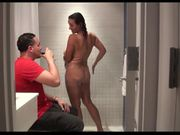 Fat young guy fucks in the shower a busty mature wife